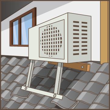 屋根にエアコンの室外機や太陽熱温水器、ベランダなどがある